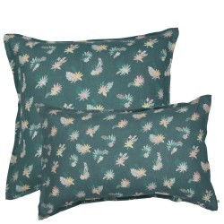 PRINTED & WASHED LINEN PILLOWCASE TROPICAL