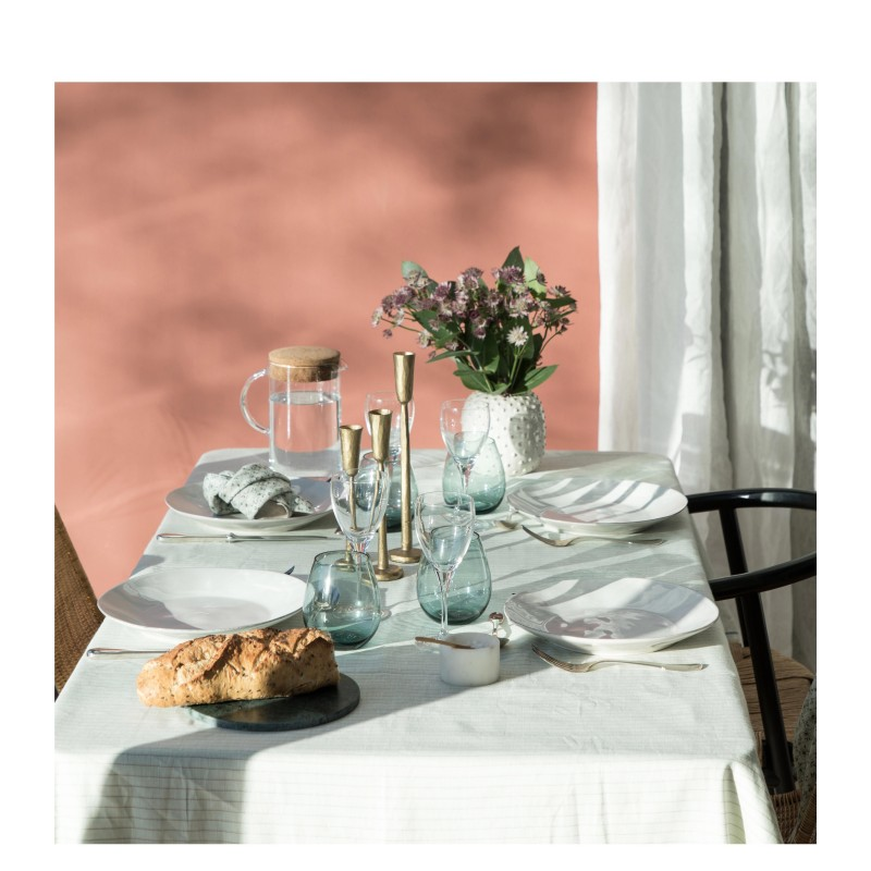 COTTON LINEN TABLECLOTH SAUGE LUREX