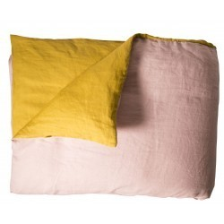 WASHED LINEN DUVET COVER DRAGÉE/ CUMIN