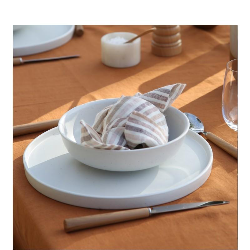 SERVIETTE DE TABLE RAYURES CARAMEL