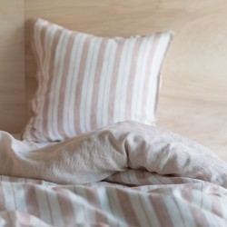 STRIPED & WASHED LINEN DUVET COVER GLAISE/ MILK