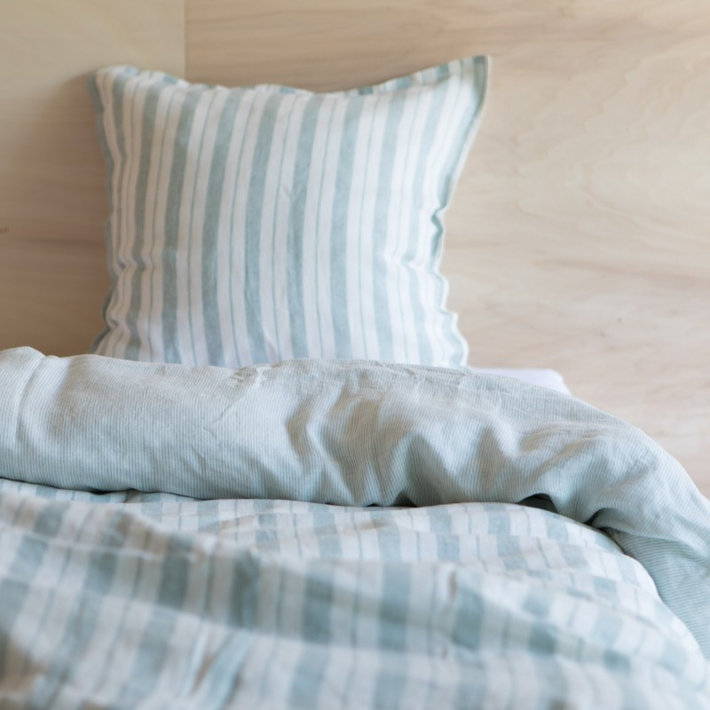 STRIPED & WASHED LINEN DUVET COVER TILLEUL/ MILK