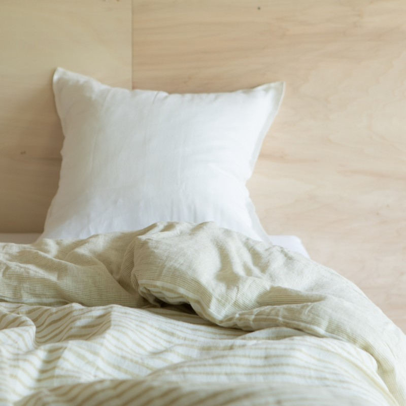 STRIPED WASHED LINEN DUVET COVER CUMIN/ MILK