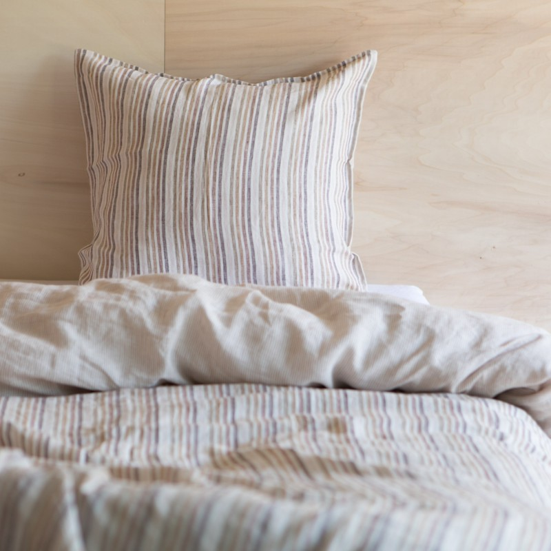 WASHED LINEN DUVET COVER CARAMEL STRIPES