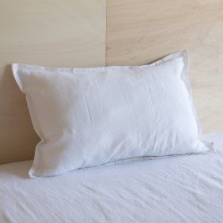 WASHED LINEN EUROSHAM PILLOWCASE SNOW