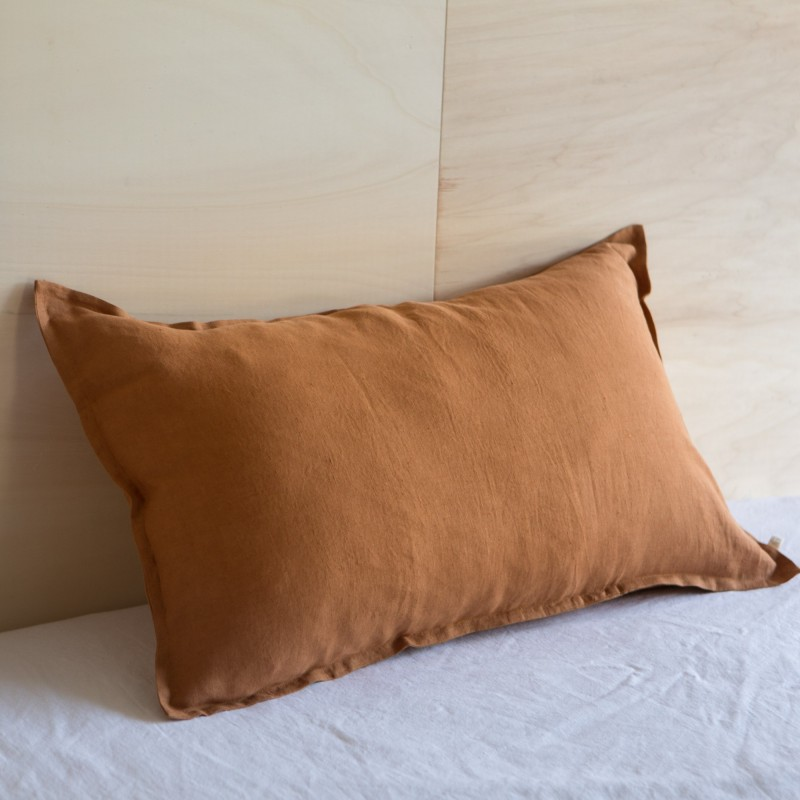 WASHED LINEN EUROSHAM / PILLOWCASE CARAMEL
