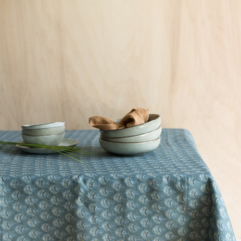 PRINTED WASHED LINEN TABLECLOTH PLUME BLUE HEAVEN