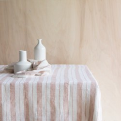 STRIPED & WASHED LINEN TABLECLOTH GLAISE / MILK