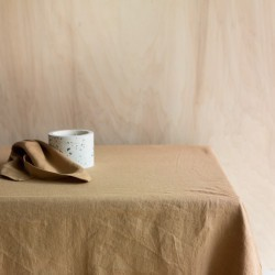 WASHED LINEN TABLECLOTH TABAC