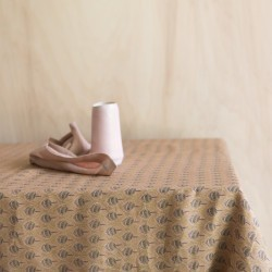 PRINTED WASHED LINEN TABLECLOTH PLUME AMBRE