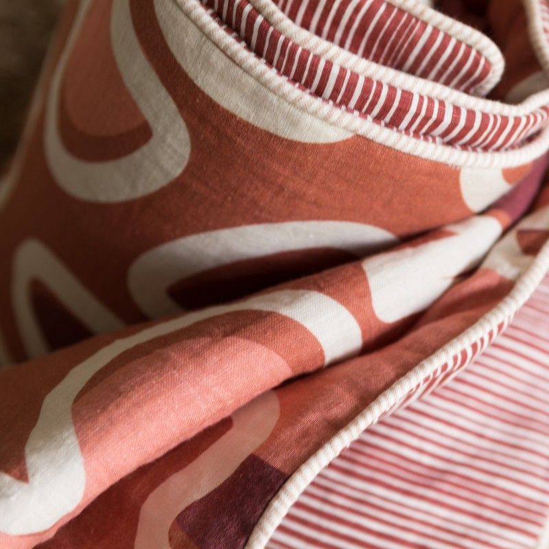 WASHED LINEN BED THROW LEAVES