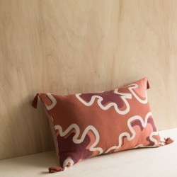 LEAVES/ STRIPE CUSHION