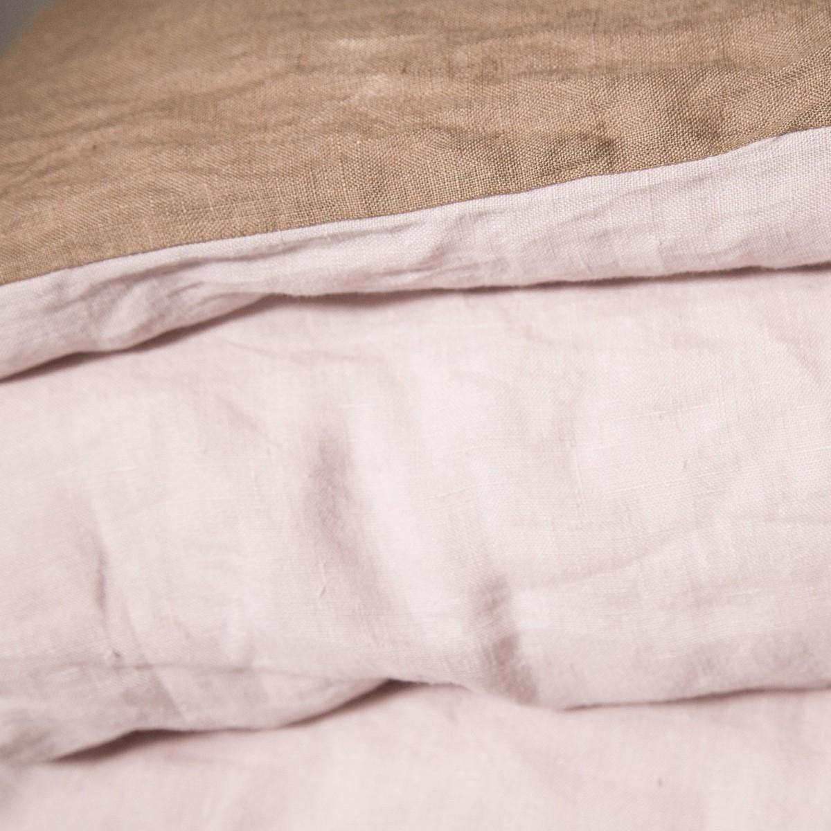Housse de couette en lin lav rose drag e camel tabac for Housse couette en lin