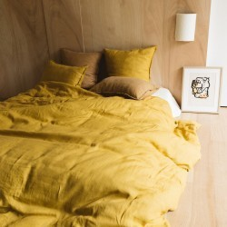 WASHED LINEN DUVET COVER CURRY