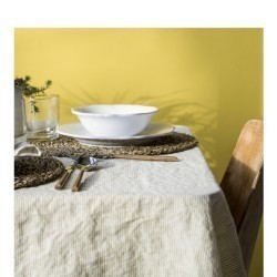 STRIPED & WASHED LINEN TABLECLOTH CUMIN / MILK