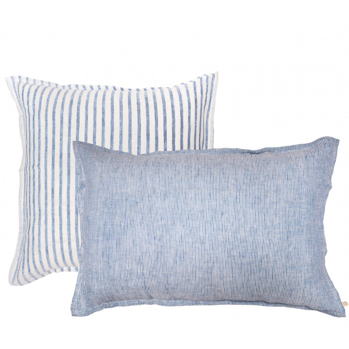 Striped washed linen pillowcase blue milk for Housse de couette in english