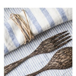 STRIPED & WASHED LINEN NAPKIN BLUE/ MILK