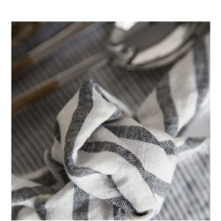 STRIPED & WASHED LINEN NAPKIN BLACK / MILK