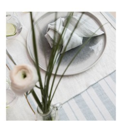 STRIPED & WASHED LINEN TABLECLOTH TILLEUL / MILK