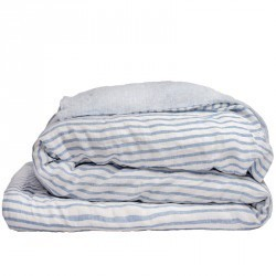 STRIPED & WASHED LINEN DUVET COVER BLUE/ MILK
