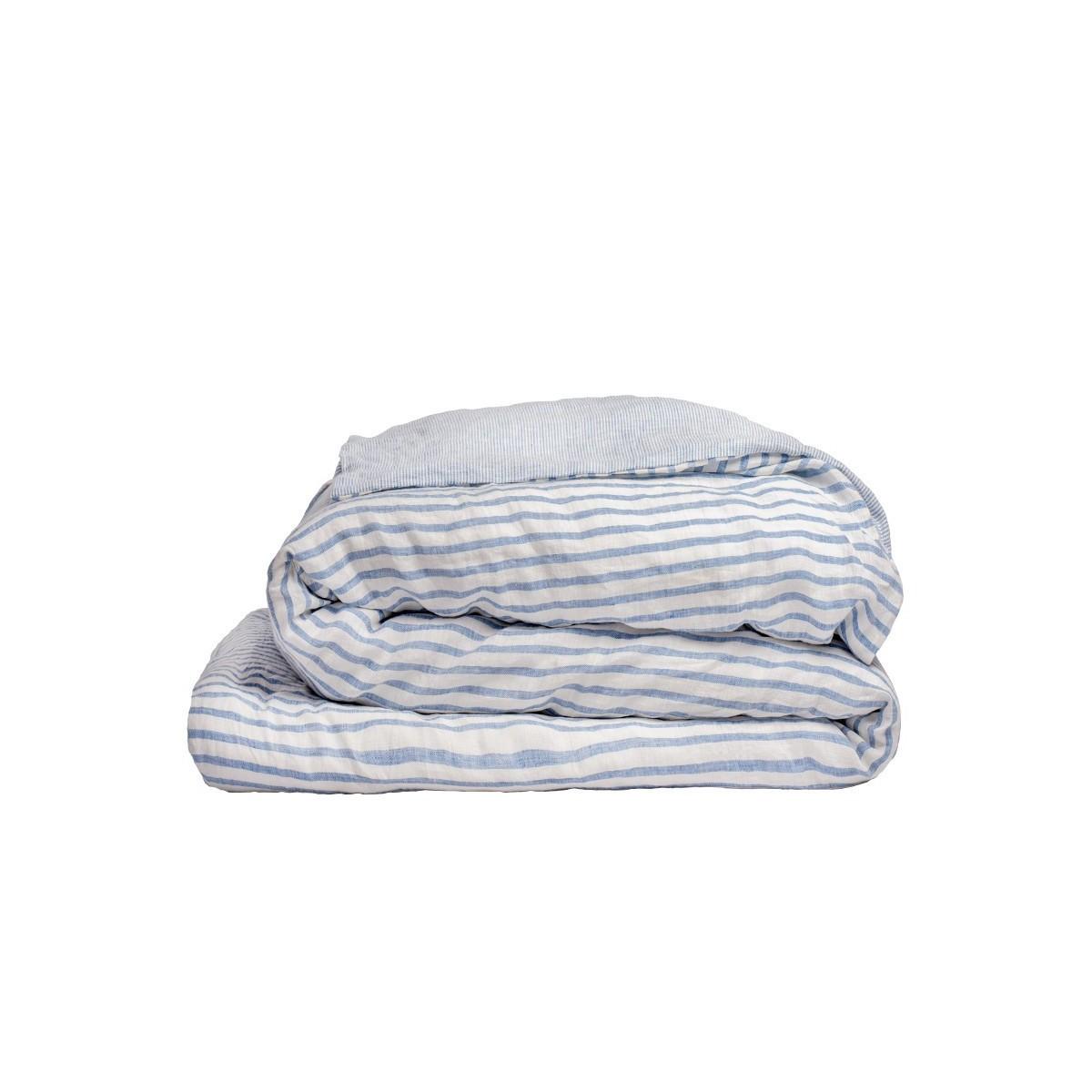 housse de couette en lin lav ray bleu blue et blanc cr me. Black Bedroom Furniture Sets. Home Design Ideas