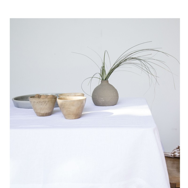 WASHED LINEN TABLECLOTH SNOW